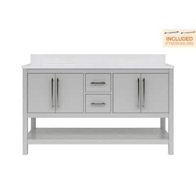 Glovemont 60 in. W x 22 in. D Bath Vanity in Light Gray with Engineered Vanity Top in White with White Basins