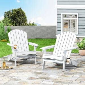 Lissette White Foldable Wood Adirondack Chair (2-Pack)