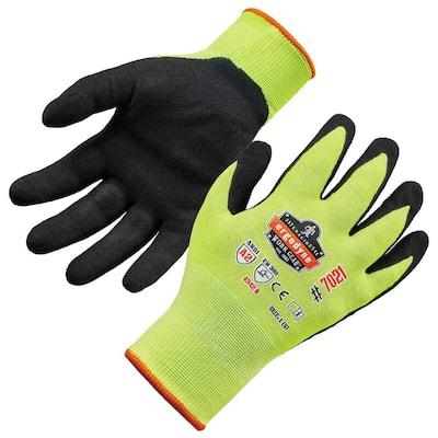 ProFlex 7021 Small Lime Hi-Vis Nitrile-Coated Cut-Resistant Gloves A2 Level WSX, Wet Grip