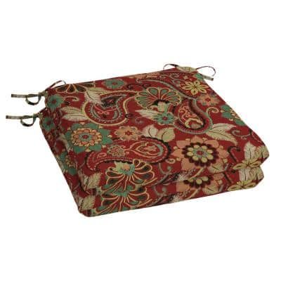 Chili Paisley Square Outdoor Seat Cushion (2-Pack)