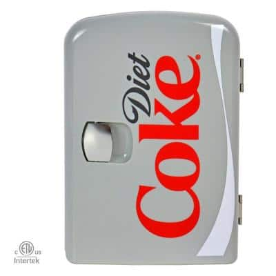 0.14 cu. ft. Diet Coke Portable Mini Fridge in Gray without Freezer