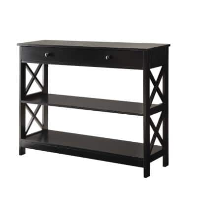 Oxford 40 in. Black Standard Rectangle Composite Console Table with 1-Drawer