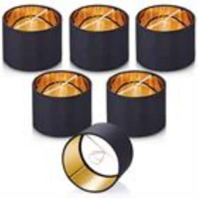 5.5 in. x 5.5 in. x 4 in. Black Gold Clip-on Drum Small Chandelier Lamp Shade