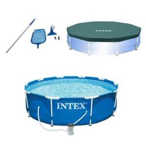 10 ft. x 2.5 ft. Pool Kit with Pool Set with Filter Pump with 10 ft. Round Pool Cover