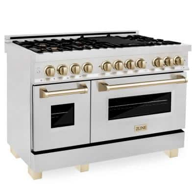 Autograph Edition 48 in. 6.0 cu. ft. Dual Fuel Range with Gas Stove and Electric Oven in DuraSnow with Gold Accents