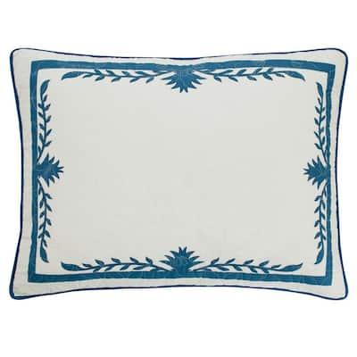Aloha Pineapple 1-Piece Blue Cotton King Sham