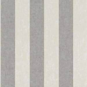 Duo Stripe Wallpaper Grey Paper Strippable Roll (Covers 57 sq. ft.)
