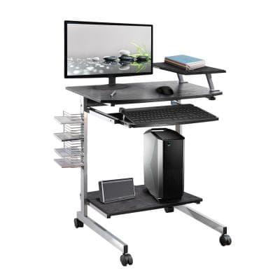 28 in. Rectangular Espresso/Chrome Laptop Desk with Keyboard Tray