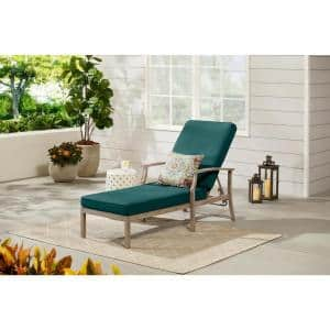 Beachside Rope Look Wicker Outdoor Patio Chaise Lounge with CushionGuard Malachite Green Cushions