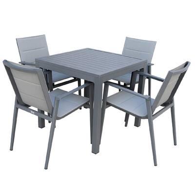 Caliar Dark Grey 5-Piece Aluminum Square Outdoor Dining Set