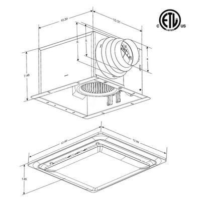 Low Profile 80 CFM 0.3 Sones Quiet Ceiling Bathroom Ventilation Fan with LED Light/Night Light White