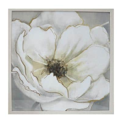 Square Framed White Flower Wall Art 26 in. H x 26 in. W