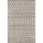 Ourika Moroccan Light Gray/Black 3 ft. 11 in. x 6 ft. Geometric Textured Weave Indoor/Outdoor Area Rug