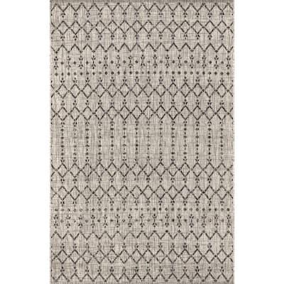 Ourika Light Gray/Black 9 ft. x 12 ft. Moroccan Geometric Textured Weave Indoor/Outdoor Area Rug