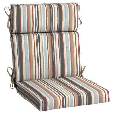 21.5 in. x 24 in. Outdoor High Back Dining Chair Cushion in Russet Stripe