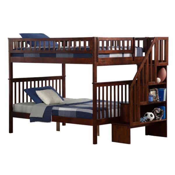 Atlantic Furniture Woodland Walnut Full Over Full Staircase Bunk Bed | The Home Depot