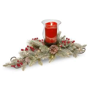 11 in. Snowy Bristle Berry Candle Holder Centerpiece with Battery Operated LED Lights