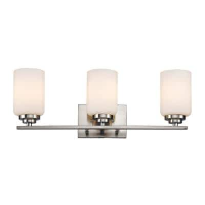 Mod Pod 22 in. 3-Light Polished Chrome CFL Vanity Light with Frosted Glass Cylinder Shades