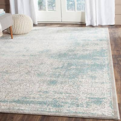 Passion Turquoise/Ivory 9 ft. x 12 ft. Distressed Border Area Rug