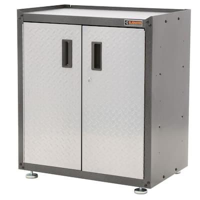 Ready-to-Assemble Steel Freestanding Garage Cabinet in Silver Tread (28 in. W x 31 in. H x 18 in. D)