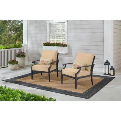 Braxton Park Black Steel Outdoor Patio Lounge Chair with Sunbrella Beige Tan Cushions (2-Pack)