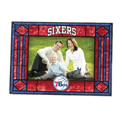 NBA -4 in. X 6 in. Gloss Multi Color Art Glass Picture Frame Seventy Sixers