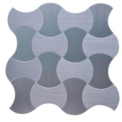 Lanterns 12 in. x 12 in. x 5 mm Peel and Stick Brushed Stainless Metal Mosaic Tile