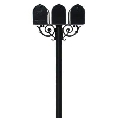 Hanford Triple Black Post System Non-Locking Mailbox with Scroll Supports and E1 Economy Mailboxes