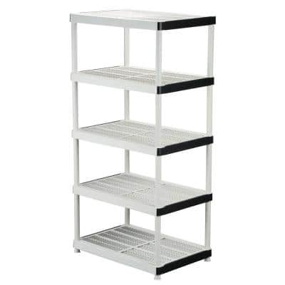Gray 5-Tier Plastic Garage Storage Shelving Unit (36 in. W x 72 in. H x 24 in. D)