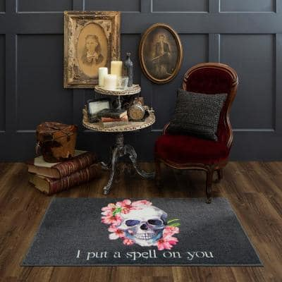 Skull Spell Purple 2 ft. x 3 ft. 4 in. Holiday Area Rug