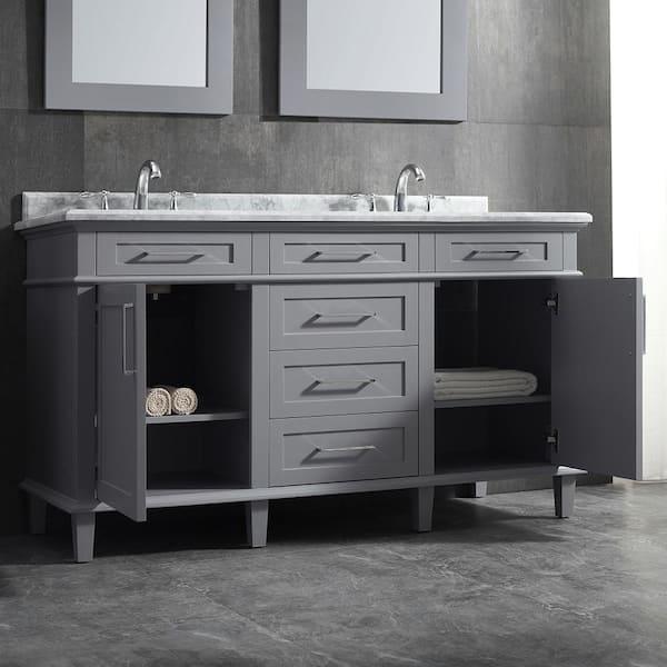 D Double Bath Vanity In Pebble Grey, Pebble Grey Bathroom Cabinets
