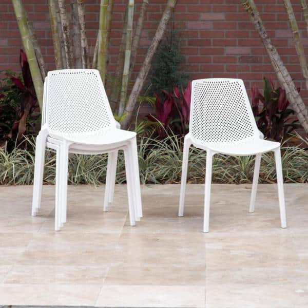 San Go Stackable Plastic Patio, White Patio Dining Chairs