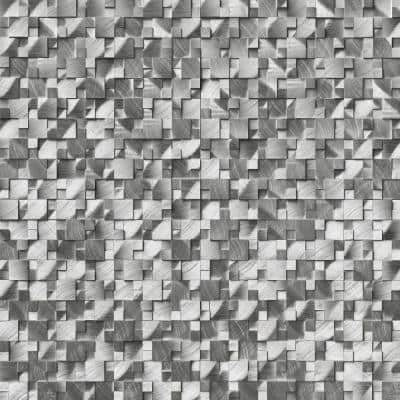 Silver Aluminum Pattern 12.4 in. x 11.81 in. x 8mm Brushed Metal Mesh-Mounted Mosaic Wall Tile (10.2 sq. ft. / case)