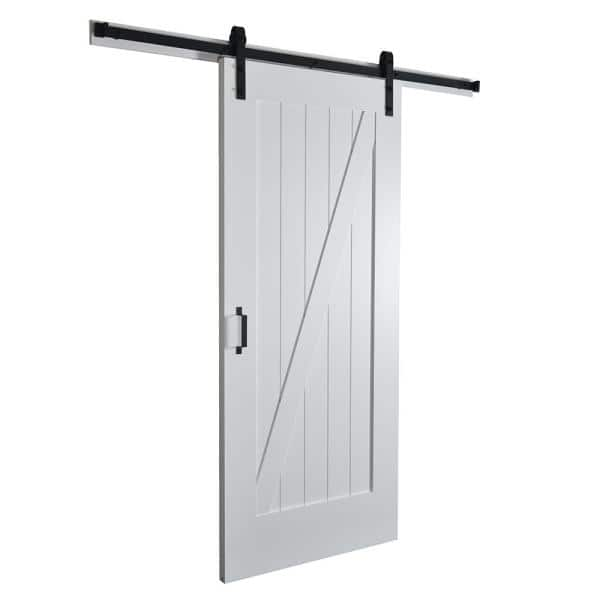 Envivo 37 In X 84 In Z Planked Primed Mdf Solid Core Wood Barn Door With Matte Black Sliding Door Hardware Kit 83172 The Home Depot