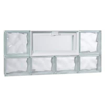 31 in. x 13.25 in. x 3.125 in. Wave Pattern Glass Block Masonry Window with Vent