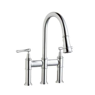 Explore 2-Handle Bridge Kitchen Faucet with Pull-Down in Chrome