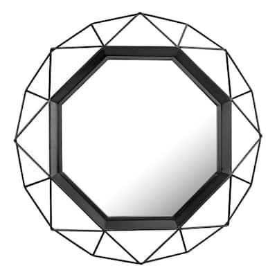 28in x 28in Modern Geometric Black Metal Framed Accent Mirror