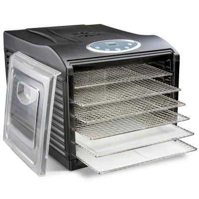 Stainless Steel Tray Food Dehydrator Machine 6 Trays 480w Digital Timer & Temperature Control, Auto Shutoff 95F to 158F
