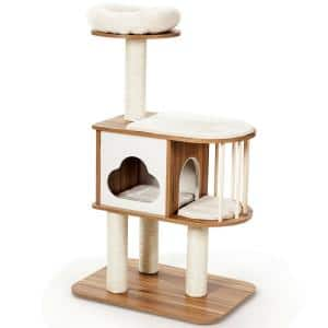 46 in. Brown Wooden Cat Activity Tree with Platform and Cushions
