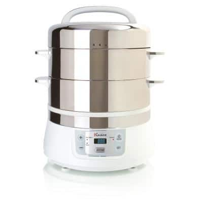 16.9 Qt. White Food Steamer and Rice Cooker with Built-In Timer