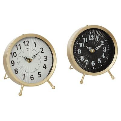 Gold Metal Modern Analog Tabletop Clock (Set of 2)