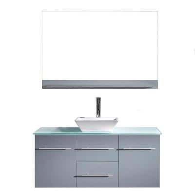 Marsala 49 in. W Bath Vanity in Gray with Glass Vanity Top in Aqua with Square Basin and Mirror and Faucet