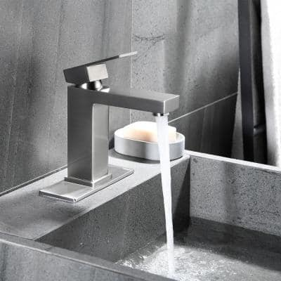 Brushed Nickel Single Hole Single Handle Bathroom Faucet with Deck Plate and Water Supply Hoses