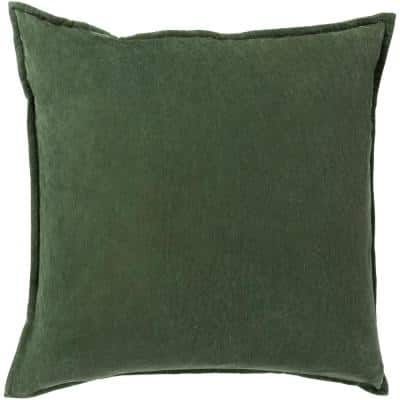 Velizh Dark Green Solid Polyester 18 in. x 18 in. Throw Pillow
