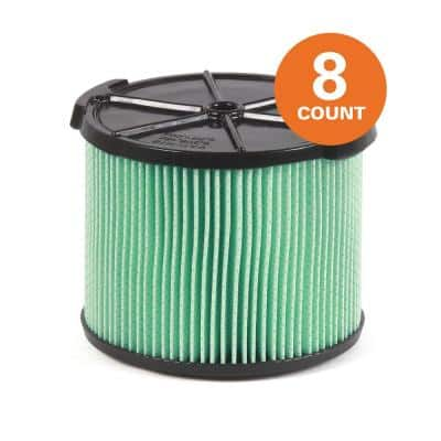 5-Layer HEPA Material Pleated Paper Filter for 3 to 4.5 Gal. RIDGID Wet/Dry Shop Vacuums (8-Pack)