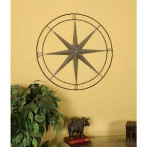 Gun Metal Silver Compass Metal Work Wall Decor