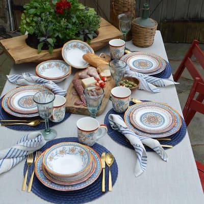 Duomo 16-Piece Patterned Multicolor/Italian Design Stoneware Dinnerware Set (Service for 4)