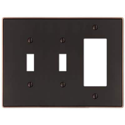 Ansley 3 Gang 2-Toggle and 1-Rocker Metal Wall Plate - Aged Bronze