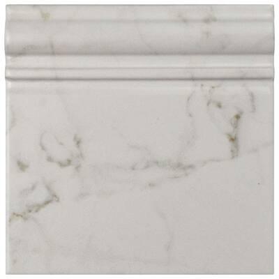 Classico Carrara Matte Skirting Base 6 in. x 6 in. Ceramic Wall Trim Tile