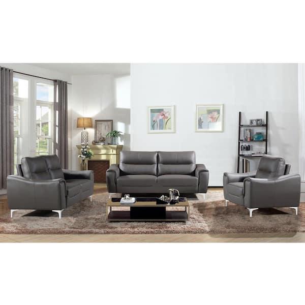 Ac Pacific Rachel 3 Piece Gray Modern, Grey Modern Sofa Set